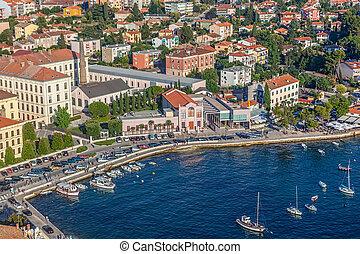 Rovinj town at sunset, Istra region, Croatia.