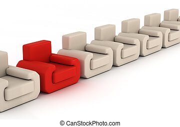 Row armchairs on a white background. 3D image.