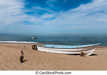Row boat and pelican on the beach