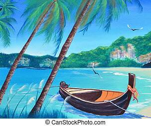 row boat on the beach oil painting