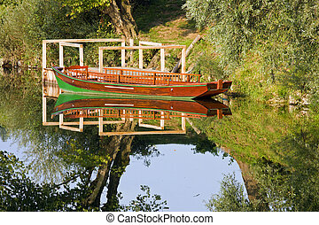 Row boat on the river