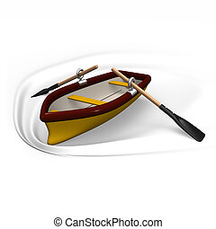 Row boat. 3D render illustration. Isolated on White.