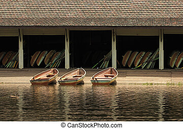 Row Boats - Weathered Row Boat in Moored at Boatshed