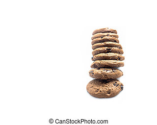 Row chocolate chip cookies copy space on isolated white background