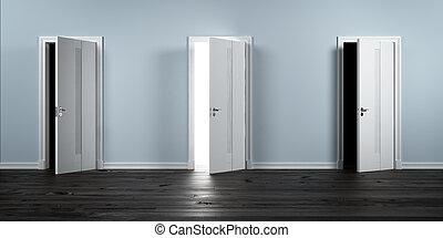 row., en, öppnat, dörrar, tre