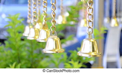 Row Gold of bells in Buddha temple