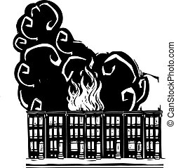 Woodcut style image of a burning Baltimore Row home.