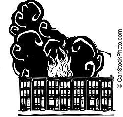 Row Home Burning - Woodcut style image of a burning ...