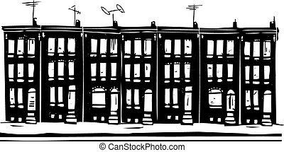 Woodcut style image of Baltimore urban ghetto row homes.