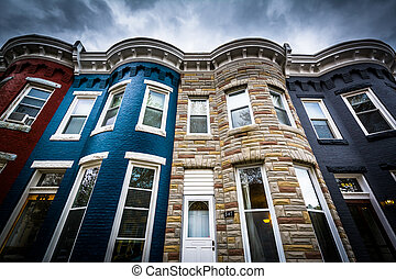 Row houses in Hampden, Baltimore, Maryland.