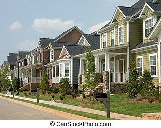 row houses in middle class neighborhood