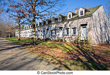 Row Houses - Old, restored row houses in Allaire Village,...