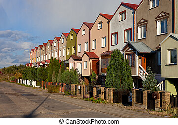 Row houses - Row of houses in Swidwin, Poland.