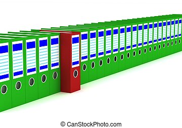 Row of accounting folders on a white background. 3D image.