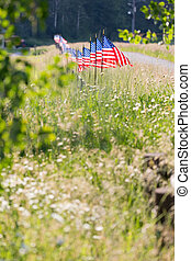Row of American Flags on Fence