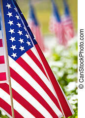 Row of American flags on street side
