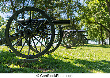 Row of antique civil war cannons at Harpers Ferry WV