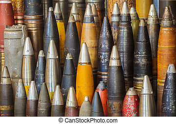 Row of antique world war two bombs - Large group of antique...