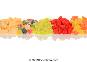 row of assorted candy