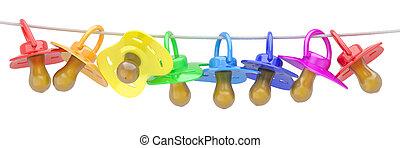 Row of babies dummies on rope. 3d
