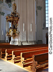 Row of benches in a church