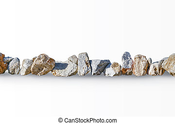 Row of big stones isolated on white background. Natural fencing or border