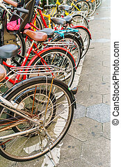 Row of bikes parking