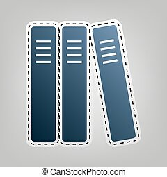 Row of binders, office folders icon. Vector. Blue icon with...
