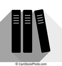 Row of binders, office folders icon. Vector. Black icon with...