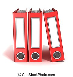 Row of binders, red office folders. 3D render illustration isolated on white background