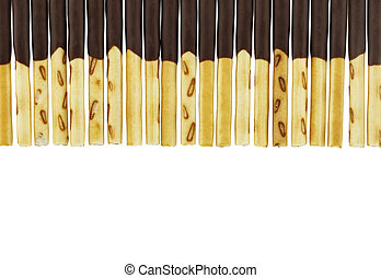 row of biscuit sticks coated with chocolate isolated on white background