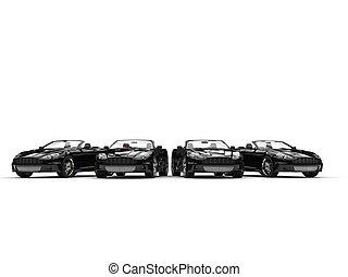 Row of black convertible sports car