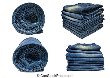 Row of blue jeans.