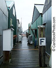 Row of Boat houses - Walk between row of boat houses