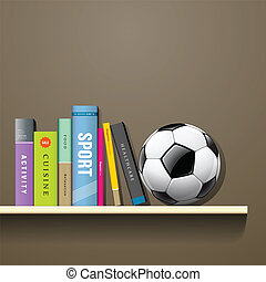 Row of books and soccer ball - Row of colorful books and ...