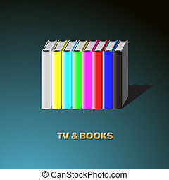 Row of books made tv-colorful no signal background