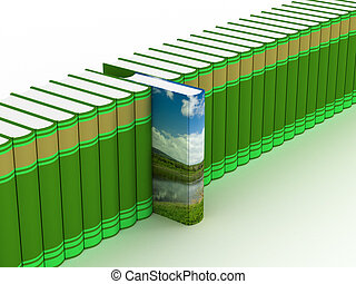 Row of books on a white background. 3D image.