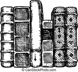 Row of books. - Vector illustration of the books spines ...