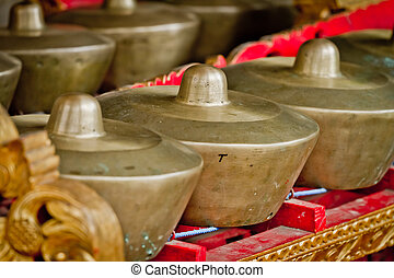kulintang - row of brass gong percussion instrument also...