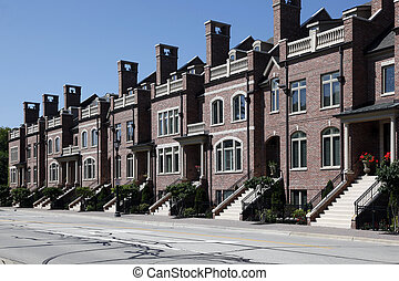 Row of brick townhomes