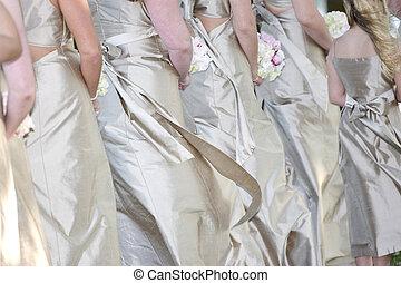 row of brides maids - Row of brides maids, closeup...