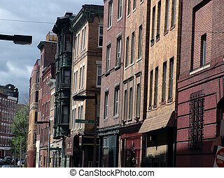 Row of buildings in boston's north end