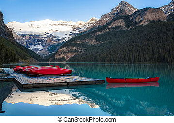 Row of canoes, Banff National Park