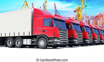 Row of cargo trucks at the sea port
