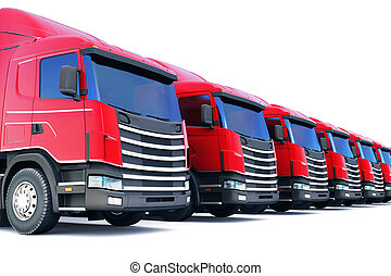Row of cargo trucks isolated on white