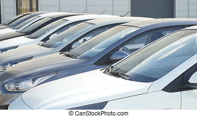 Row of cars before sale outdoors