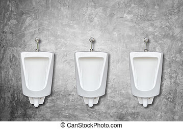 Row of ceramic outdoor urinals in men public toilet install on the wall