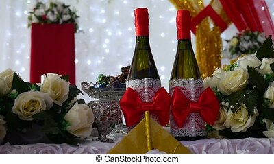 row of chairs champagne in restaurant video laid table with food celebration wedding art