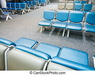 Row of chairs in airport