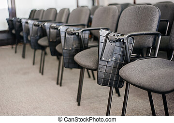 Row of chairs in conference rom university